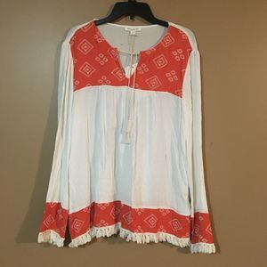 beachlunchlounge Embroidered Long Sleeve Tunic L